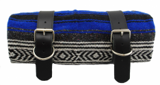 Mexican Serape Roll-up Blanket Blue with Black Leather Belts