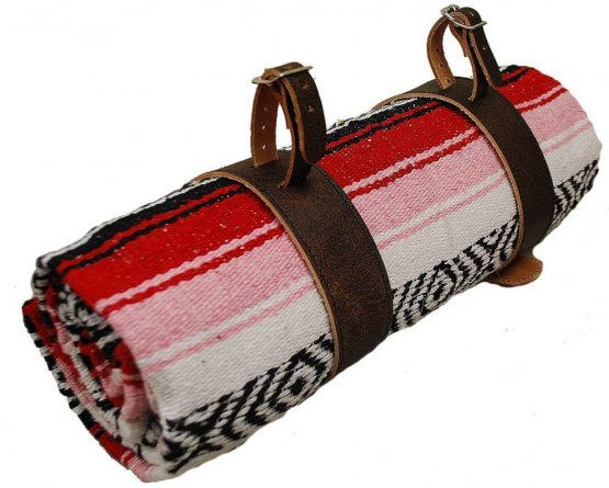 Mexican Serape Roll-up Blanket Red with Black Leather Belts