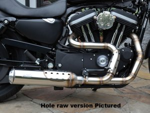 "BSL Big Guns Bomb Outline Headpipes + BSL Muffler 2 1/4"" VA satin pre Sportster"