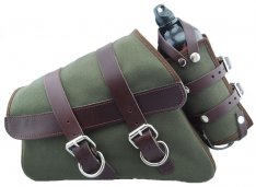 La Rosa Canvas Left Side Saddle Bag Army Green with Fuel Bottle and Brown Leather Straps for Sportster XL 04-17