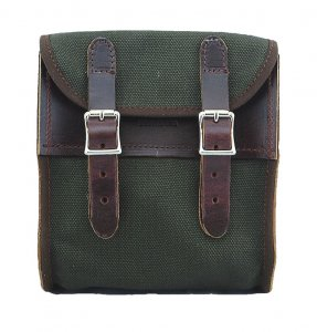 La Rosa Universal Canvas Sissy Bar Bag Army Green with Leather Accents