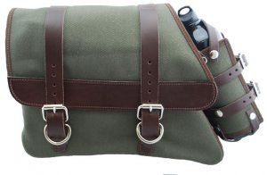 La Rosa Canvas Left Side Saddle Bag Army Green with Fuel Bottle and Brown Leather Straps for Sportster XL 82-03