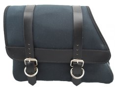 La Rosa Canvas Left Side Saddle Bag Black with Black Leather Accents for Sportster XL 82-03
