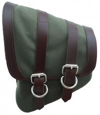 La Rosa Canvas Left Side Saddle Bag Army Green with Brown Straps for Softail and Rigid Frame