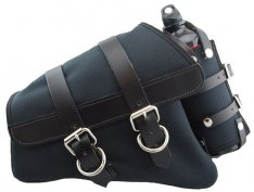 La Rosa Canvas Left Side Saddle Bag with Fuel Bottle Black with Black Leather Accents for Sportster XL 04-17