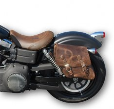 La Rosa Solo Side Bag Brown for Harley Dyna 06-16