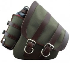 La Rosa Canvas Left Side Saddle Bag Army Green with Fuel Bottle and Brown Leather Straps for Softail and Rigid Frame