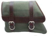 La Rosa Canvas Left Side Saddle Bag Army Green with Brown Straps for Sportster XL 82-03