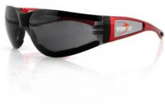 Bobster Shield II Motorcycle Sunglasses Red Frame Smoke Lens