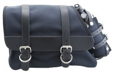 La Rosa Canvas Left Side Saddle Bag with Fuel Bottle Black with Black Leather Accents for Sportster XL 82-03