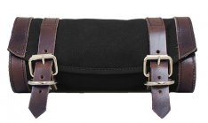 Universal Front Fork Canvas Tool Bag Black with Brown Straps
