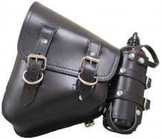 La Rosa V-Rod Left Solo Side Bag With Fuel Bottel Holder Plain Black