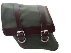 La Rosa Canvas Left Side Saddle Bag Army Green with Brown Leather Straps for Harley Dyna 96-17