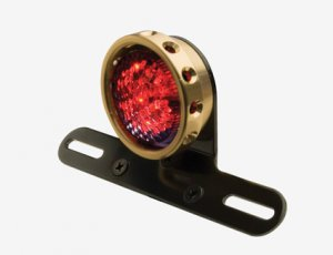 Retro Drilled Style Taillight Brass
