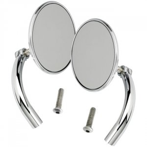 Biltwell Utility Mirror Round Perch Mount Chrome Pair