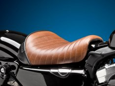 Le Pera Bare Bones Pleated Stitch Seat Brown for Sportster 48 and 72