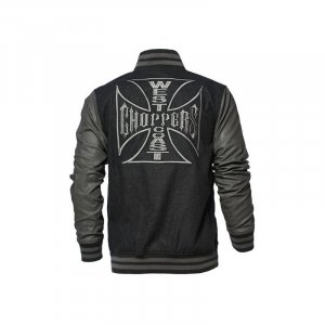 West Coast Choppers Original Cross Wool Baseball Jacket Grey Black